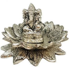 Ganesh Lotus Aluminium Incense Burner 6.5cm