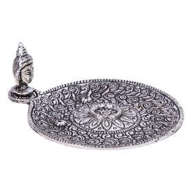 Buddha Head Round Aluminium Incense Burner 10cm
