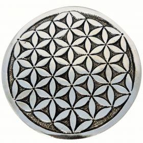 Flower of Life Round Aluminium Incense Burner 10.5cm