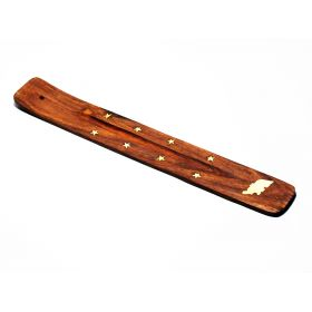 Wooden Incense Stick Holder with Elephant Brass Inlay