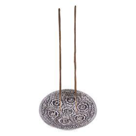 7 Chakra Round Aluminium Incense Burner - 11cm