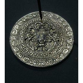 Buddha Face Round Aluminium Incense Burner - 9.5cm