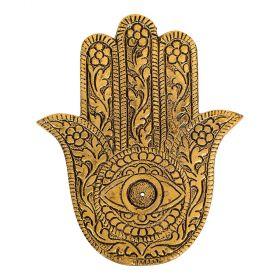Hamsa Hand Gold Aluminium Incense Burner - 10cm X 13cm