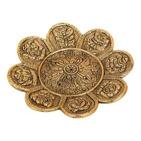 8 Auspicious Symbols Round Gold Aluminium Incense Burner - 11cm